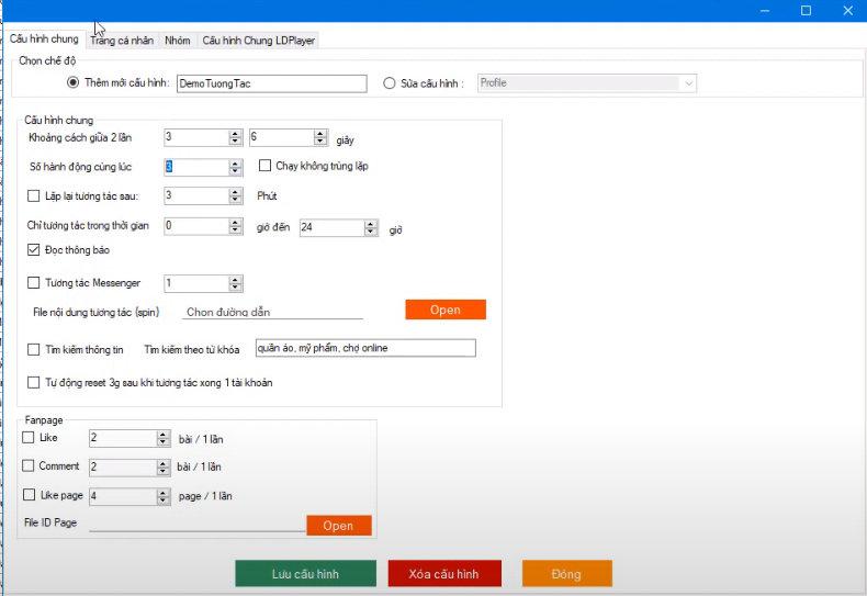 Thiết lập cấu hình tương tác nuôi nick facebook