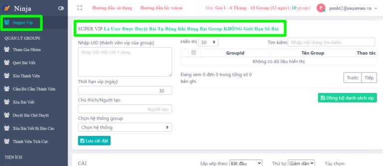 Quản lí supper vip trên phần mềm quản lí group facebok tự động