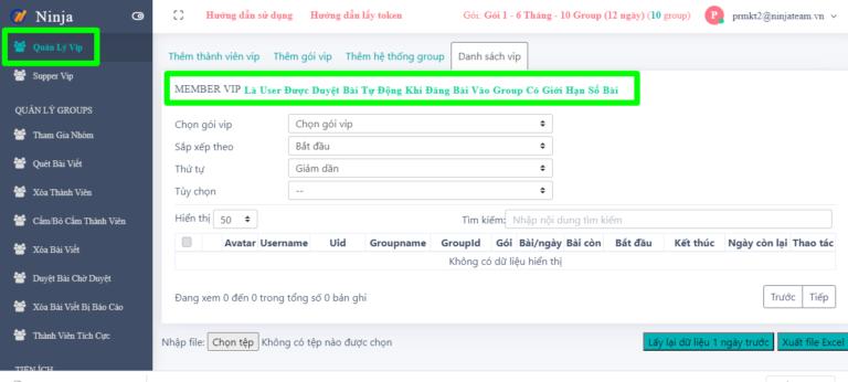 quản lí vip trên phần mềm quản lí group facebook